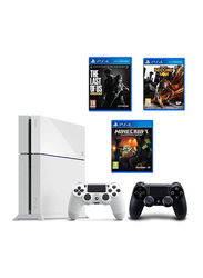 Sony PlayStation 4 Console, 500GB, with 2 Wireless Controllers Bundle and 3 Games (Last Of Us Remastered, Minecraft, Infamous Second Son), White/Black