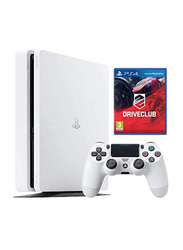 Sony PlayStation 4 Slim Console, 500GB, with 1 Wireless Controller and 1 Game (Driveclub By Sony) for PS4, Glacier White