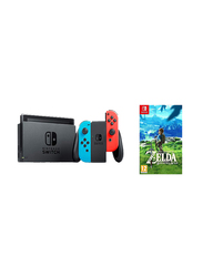 Nintendo Switch Console, 32GB, with Left & Right Controllers and The Legend of Zelda Breath of the Wild Game, Neon Red/Blue/Grey