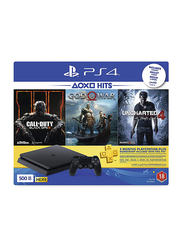Sony PlayStation 4 Console, 500GB, with 1 Controller and 3 Games (Call Of Duty Black Ops 3, God Of War and Uncharted 4) and 3 Month PSN Subscription, Black