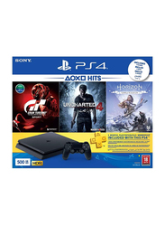 Sony PlayStation 4 Slim Console, 500GB, with 1 Wireless Controller and 3 Games and PS Plus 90 Days Subscription, Black