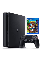 Sony PlayStation 4 Slim Console, 500GB, with 1 Wireless Controller and 1 Game (Crash Bandicoot: N.Sane Triolgy), Black