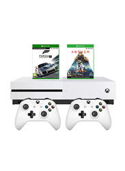 Microsoft Xbox One S Console, 1TB, with 2 Controller and 2 Games (Forza 7 Motorsport, Anthem Bioware), White