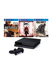 Sony PlayStation 4 Console, 500GB, with 1 Controller and 3 Games (Battlefield Hardline, Devil May Cry and Call Of Duty), Black
