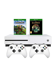 Microsoft Xbox One S Console, 1TB, with 2 Controller and 2 Games (Minecraft, Sea of Thieves), White