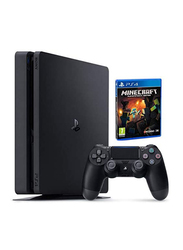 Sony PlayStation 4 Slim Console, 500GB, with 1 Wireless Controller and 1 Game (Min Craft), Black