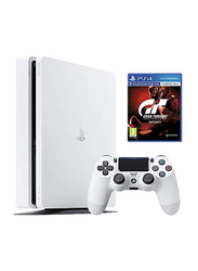 Sony PlayStation 4 Slim Console, 500GB, with 1 Wireless Controller and 1 Game (Gran Turismo Sport By Sony) for PS4, Glacier White