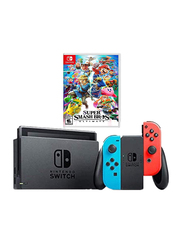 Nintendo Switch Console, 32GB, with Left & Right Controllers and Super Smash Bros Ultimates Game, Neon Red/Blue/Grey