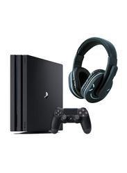 Sony PlayStation 4 Pro Console, 1TB, with 1 Wireless Controller and Strum HS970 Headset, Jet Black