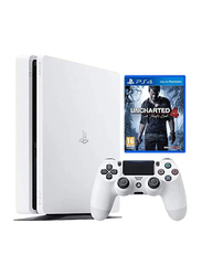 Sony PlayStation 4 Slim Console, 500GB, with 1 Wireless Controller and 1 Game (Uncharted 4: A Thief's End By Naughty Dog) for PS4, Glacier White
