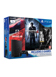 Sony PlayStation 4 Slim Console, 1TB, with 1 Controller and 3 Gamer Pack Bundle (Uncharted 4, The Last of Us and Drive Club), Black