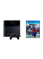 Sony PlayStation 4 Console, 500GB, with 2 Wireless Controller and 1 Game (PES 2018), Black