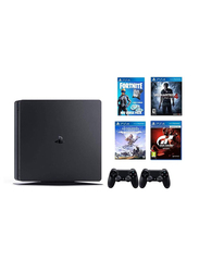 Sony PlayStation 4 Console, 500GB, with 2 Controllers and 4 Games (Horizon Zero Dawn Complete Edition, Uncharted 4, Gran Turismo Sport and Fortnite) and 3 Month PSN Subscription, Black