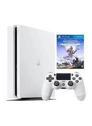 Sony PlayStation 4 Slim Console, 500GB, with 1 Wireless Controller and 1 Game (Horizon Zero Dawn Complete Edition) for PS4, Glacier White