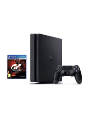 Sony PlayStation 4 Slim Console, 1TB, with 1 Wireless Controller and 1 Game (GT Gran Turismo), Black