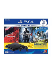 Sony PlayStation 4 Slim Console, 500GB, with 1 Wireless Controller and 1 Game (Drive Club Uncharted 4 Horizon), Black