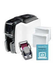 ZEBRA ZC100 Single Sided ID Card Printer, with 1 Color Ribbon + 100 Cards + Cardstudio Classic Software, White