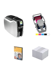 ZEBRA ZC300 Dual Sided ID Card Printer, with 1 Color Ribbon + 100 Cards + Cardstudio Classic Software, White