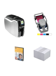ZEBRA ZC300 Single Sided ID Card Printer, with 1 Color Ribbon + 100 Cards + Cardstudio Classic Software, White
