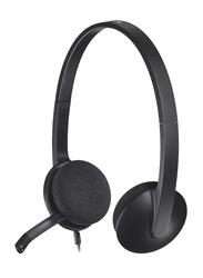 Logitech H340 On-Ear Head Set, with External Mic, Black