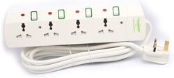 Terminator 4 Sockets EU Plug Extension, 5-Meter Cable with 13A Plug, White