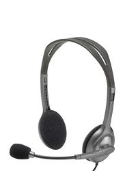 Logitech H110 On-Ear Head Set, with External Mic, Grey