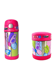 Thermos Funtainer Stainless Steel Food Jar 290ml + Funtainer Bottle Steel Hydration Bottle 355ml Combo Set, Butterfly, Pink