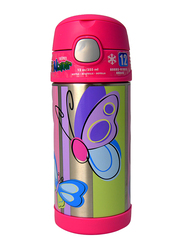 Thermos Funtainer Stainless Steel Hydration Bottle, Butterfly, 355ml, Silver/Pink