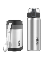 Thermos Food Jar Wide Neck with Folding Spoon 470ml + Stainless Steel Hydration Bottle SBK 530ml Combo Set, Silver