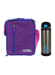 Thermos Uprights with LDPE Liner for Girl + Funtainer Stainless Steel Hydration Bottle 470ml Combo Set, Purple Pink