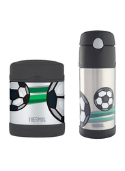 Thermos Funtainer Stainless Steel Food Jar 290ml + Steel Hydration Bottle 355ml Combo Set, Football, Silver/Black