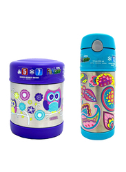Thermos Funtainer Stainless Steel Food Jar 290ml + Funtainer Bottle Steel Hydration Bottle 355ml Combo Set, Owl and Paisley Flower, Blue
