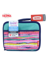 Thermos Standard Lunch Kit for Girls with Ldpe Liner, Ikat Stripes, Blue/Pink
