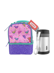 Thermos Dual Lunch Kit with LDPE Liner + Stainless Steel Food Jar Wide Neck with Folding Spoon 470ml Combo Set, Narwhals in Space, Pink