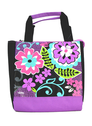 Thermos Lunch Bag, Floral, Black/Purple