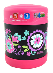 Thermos Funtainer Stainless Steel Food Jar, Floral, 290ml, Black/Pink