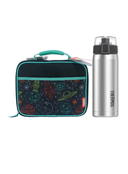 Thermos Standard Lunch Kit with LDPE Liner + Stainless Steel Hydration Bottle SBK 530ml Combo Set, Space/Silver, Multicolor