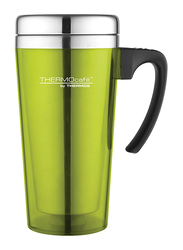 Thermos 400ml Thermocafe Stainless Steel with Plastic Cover Drinking Mug, Lime Green