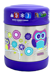 Thermos Funtainer Stainless Steel Food Jar, Owl, 290ml, Silver/Blue