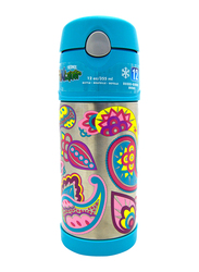 Thermos Funtainer Stainless Steel Hydration Bottle, Paisley Flower, 355ml, Silver/Blue
