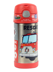 Thermos Funtainer Stainless Steel Hydration Bottle, Rescue Truck, 355ml, Silver/Red
