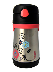 Thermos Foogo Stainless Steel Straw Bottle, Flowers, 290ml, Silver/Pink/Black