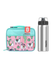 Thermos Standard Lunch Kit with LDPE Liner + Stainless Steel Hydration Bottle SBK 530ml Combo Set, Desert Lamas, Multicolor