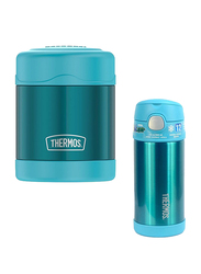 Thermos Funtainer Stainless Steel Food Jar 290ml + Steel Hydration Bottle 355ml Combo Set, Teal