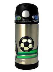 Thermos Funtainer Stainless Steel Hydration Bottle, Football, 355ml, Silver/Black