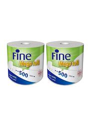 Fine Super Saving Hand Towel Tissue, 2 Roll x 500 Sheets x 2 Ply