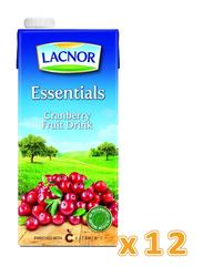 Lacnor Essentials Cranberries Fruit Drink, 12 x 1 Liters
