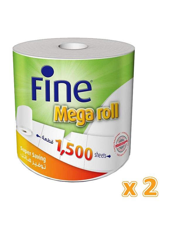 Fine Mega Roll Kitchen Towels, 2 Rolls x 1500 Sheets x 1Ply