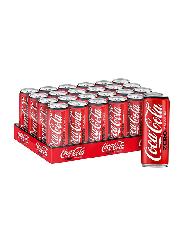 Coca Cola Zero Carbonated Soft Drink, 24 Cans x 330ml