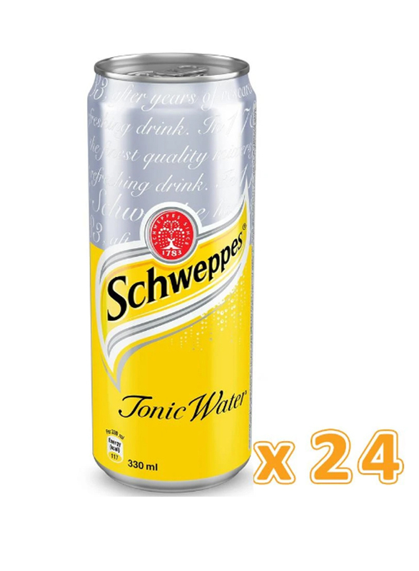 Schweppes Tonic Water Soft Drink, 24 Cans x 330ml